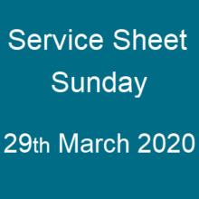 Service sheet 29 March 2020