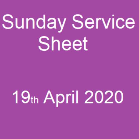 Service Sheet 19 April 2020